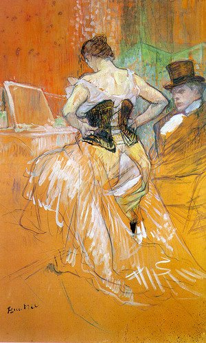"Reproduction oil paintings - Toulouse-Lautrec - Study for ""Elles"" (Woman in a Corset) 1896"