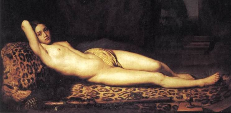 Oil painting reproductions - Romanticism - Felix Trutat: Nude Girl on a Panther Skin 1844