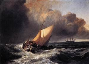 Famous paintings of Storms & Rough Water: Dutch Boats in a Gale 1801