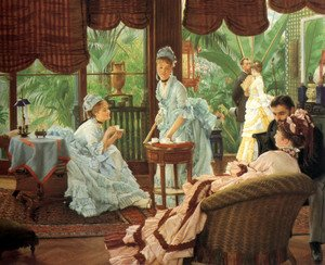 Reproduction oil paintings - James Jacques Joseph Tissot - In the Conservatory (Rivals) (2)  1875-78
