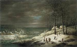 Famous paintings of Villages: Winter Landscape with Hunters