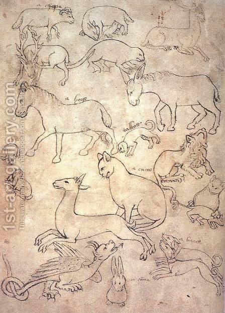 Model book with animals c. 1400 by English Unknown Masters - Reproduction Oil Painting