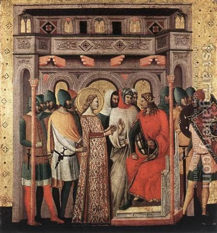 Scenes from the Life of St Colomba (St Colomba before the Emperor) c. 1340 by Italian Unknown Masters - Reproduction Oil Painting