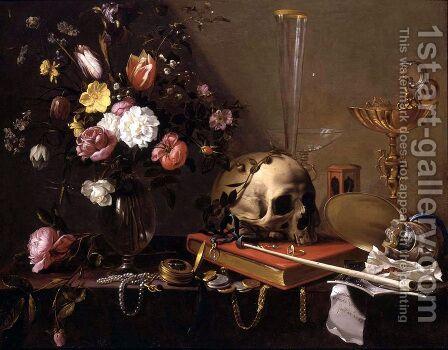 Vanitas Still-Life with a Bouquet and a Skull c. 1642 by Adriaen van Utrecht - Reproduction Oil Painting