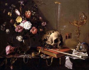 Famous paintings of Glasses: Vanitas Still-Life with a Bouquet and a Skull c. 1642