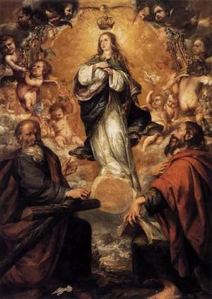 Reproduction oil paintings - Juan de Valdes Leal - Virgin of the Immaculate Conception with Sts Andrew and John the Baptist 1650-52