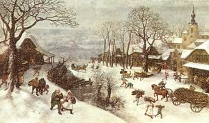 Famous paintings of Villages: Winter  1586