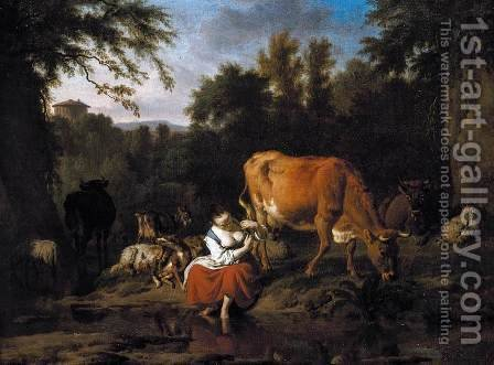 A Classical Landscape 1671 by Adriaen Van De Velde - Reproduction Oil Painting