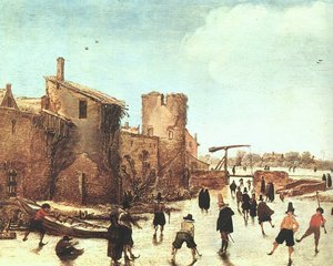 Famous paintings of Villages: The Joy of Ice on the Wallgraben (2) 1618