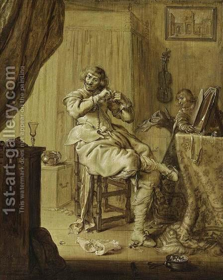 A Cavalier at His Dressing Table 1631 by Adriaen Pietersz. Van De Venne - Reproduction Oil Painting