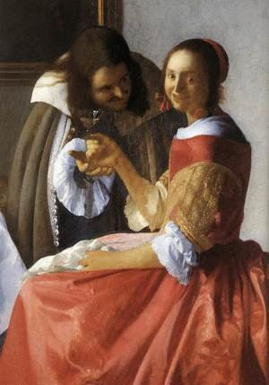Reproduction oil paintings - Jan Vermeer Van Delft - A Lady and Two Gentlemen (detail-1) c. 1659
