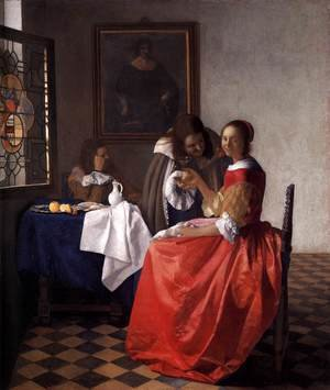 Reproduction oil paintings - Jan Vermeer Van Delft - A Lady and Two Gentlemen c. 1659