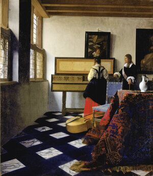 Reproduction oil paintings - Jan Vermeer Van Delft - A Lady at the Virginals with a Gentleman 1662-65