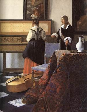 Reproduction oil paintings - Jan Vermeer Van Delft - A Lady at the Virginals with a Gentleman (detail-1) 1662-65