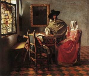 Reproduction oil paintings - Jan Vermeer Van Delft - A Lady Drinking and a Gentleman c. 1658