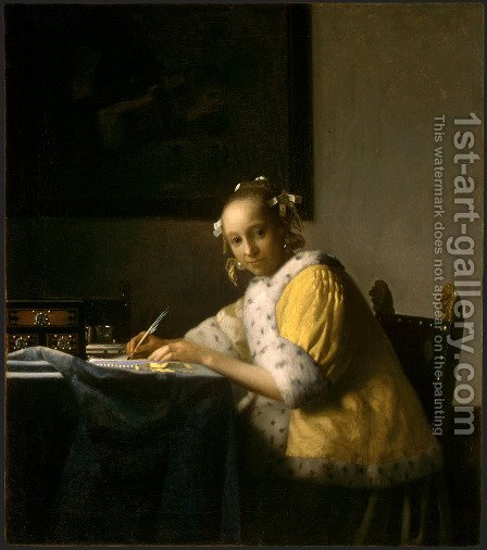 A Lady Writing a Letter 1665-66 by Jan Vermeer Van Delft - Reproduction Oil Painting
