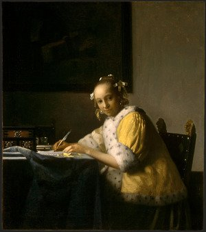 Reproduction oil paintings - Jan Vermeer Van Delft - A Lady Writing a Letter 1665-66