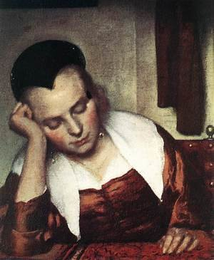 Reproduction oil paintings - Jan Vermeer Van Delft - A Woman Asleep at Table (detail-1) c. 1657