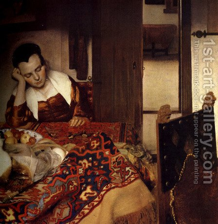 Jan Vermeer Van Delft: A Woman Asleep at Table c. 1657 - reproduction oil painting