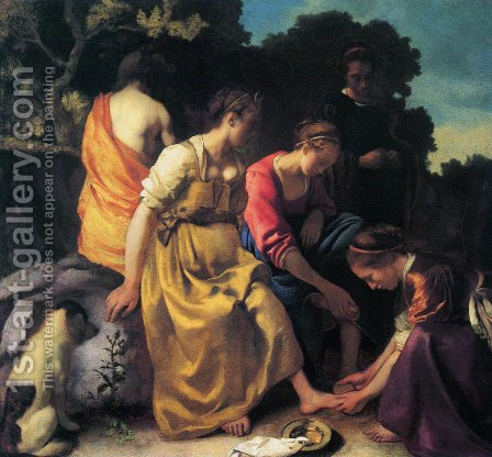 Jan Vermeer Van Delft: Diana and her Companions 1655-56 - reproduction oil painting
