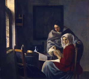 Reproduction oil paintings - Jan Vermeer Van Delft - Girl Interrupted at Her Music 1660-61