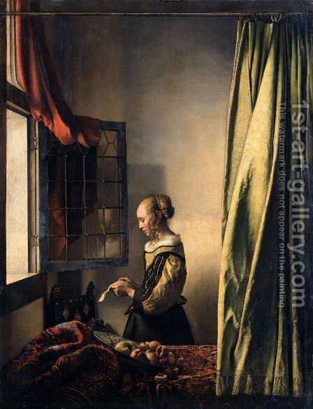Girl Reading a Letter at an Open Window 1657 by Jan Vermeer Van Delft - Reproduction Oil Painting