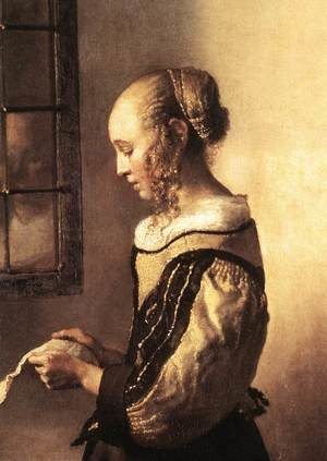 Reproduction oil paintings - Jan Vermeer Van Delft - Girl Reading a Letter at an Open Window (detail-1) 1657