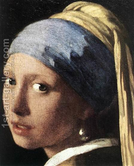 Jan Vermeer Van Delft: Girl with a Pearl Earring (detail-2) c. 1665 - reproduction oil painting