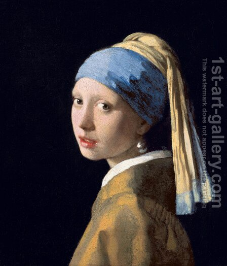Jan Vermeer Van Delft: Girl with a Pearl Earring c. 1665 - reproduction oil painting
