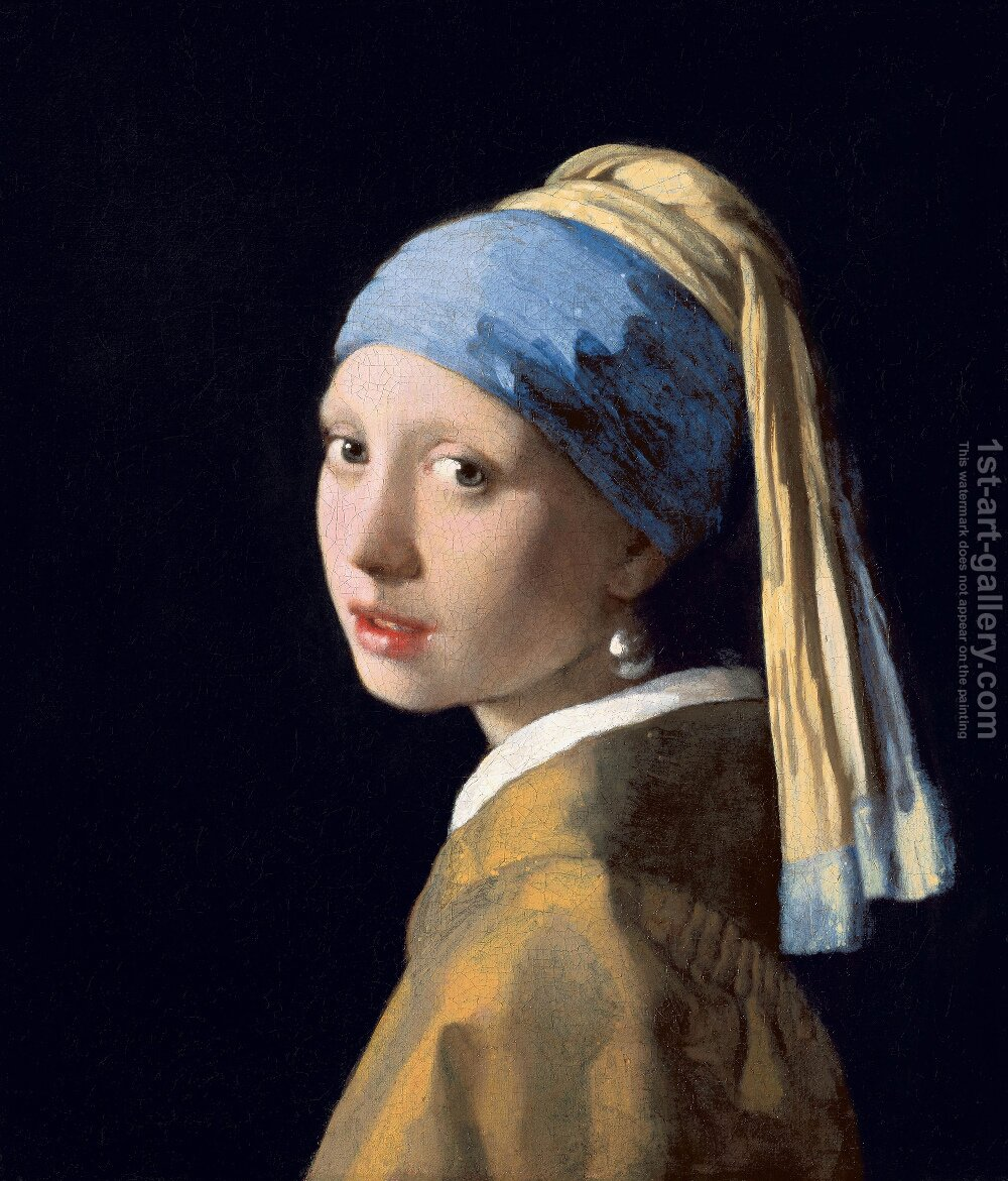 Huge version of Girl with a Pearl Earring c. 1665