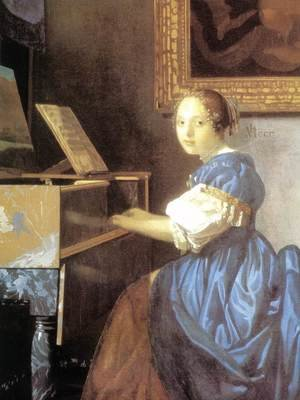 Reproduction oil paintings - Jan Vermeer Van Delft - Lady Seated at a Virginal (detail) c. 1673