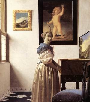 Reproduction oil paintings - Jan Vermeer Van Delft - Lady Standing at a Virginal c. 1670