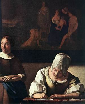 Reproduction oil paintings - Jan Vermeer Van Delft - Lady Writing a Letter with Her Maid (detail-1) c. 1670