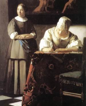 Reproduction oil paintings - Jan Vermeer Van Delft - Lady Writing a Letter with Her Maid (detail-2) c. 1670