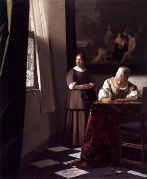 Reproduction oil paintings - Jan Vermeer Van Delft - Lady Writing a Letter with Her Maid c. 1670