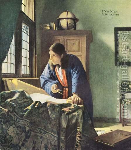 Jan Vermeer Van Delft: The Geographer c. 1668 - reproduction oil painting