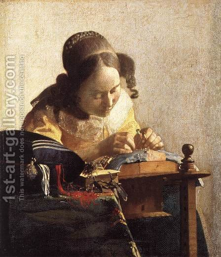 Jan Vermeer Van Delft: The Lacemaker 1669-70 - reproduction oil painting