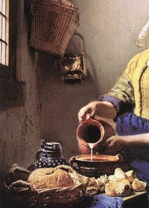Famous paintings of Dairy & Milk: The Milkmaid (detail-2) c. 1658
