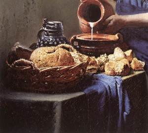 Famous paintings of Dairy & Milk: The Milkmaid (detail-4) c. 1658