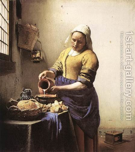 Jan Vermeer Van Delft: The Milkmaid c. 1658 - reproduction oil painting
