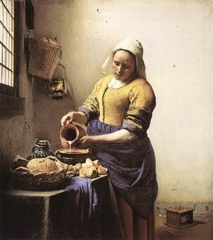 Jan Vermeer Van Delft reproductions - The Milkmaid c. 1658