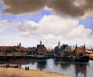 Famous paintings of Clouds & Skyscapes: View of Delft 1659-60
