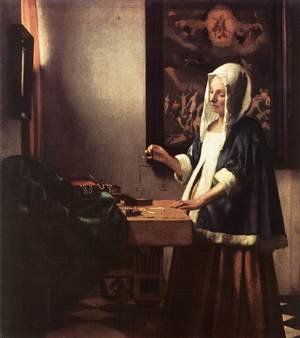 Reproduction oil paintings - Jan Vermeer Van Delft - Woman Holding a Balance 1662-63