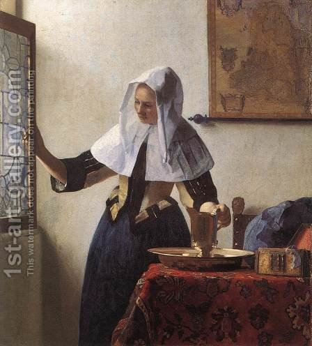 Young Woman with a Water Jug 1660-62 by Jan Vermeer Van Delft - Reproduction Oil Painting
