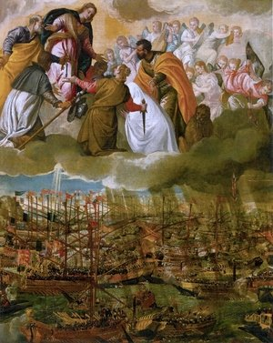Famous paintings of Ships & Boats: Battle of Lepanto c. 1572