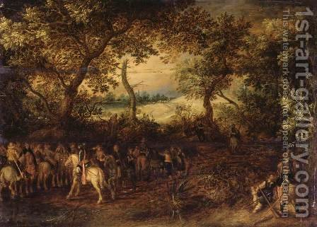 An Officer Preparing His Troops for an Ambush c. 1612 by David Vinckboons - Reproduction Oil Painting