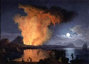 Famous paintings of Ships & Boats: View of the Eruption of Mount Vesuvius 1770s