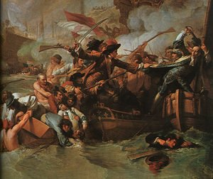 Reproduction oil paintings - Benjamin West - The Battle of La Hogue (detail) 1778