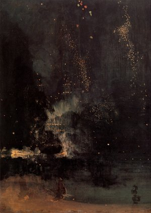 Reproduction oil paintings - James Abbott McNeill Whistler - Nocturne in Black and Gold- The Falling Rocket  1875