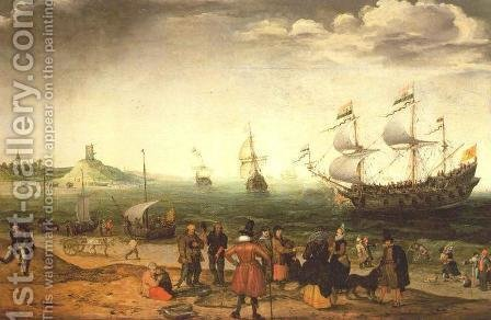Coastal Landscape with Ships 1616 by Adam Willaerts - Reproduction Oil Painting